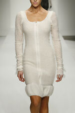 P-125100 Exquisite Italian Fabric, Eyelet Wool Muhair in winter white per Yard