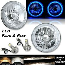 "7"" Blue LED Halo Angel Eye Headlight 6k LED Light Bulbs Pair Fits: Jeep Wrangler"