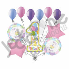 11 pc 1st Cupcake Happy Birthday Balloon Bouquet Party Decoration Baby One Girl