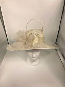 Women Church Wedding Hat Large Brim Feather & Net Ivory Off White
