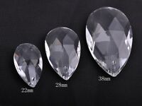 HOT 5pcs 22/28/38mm Teardrop Faceted Crystal Glass Loose Spacer Beads Pendants