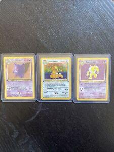 Pokemon First Edition Holo LOT French Hypno, Dragonite, & Gengar