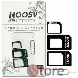 KIT 4in1 SCHEDA ADATTATORE NANO MICRO SIM PER IPHONE 5 4S NANOSIM GALAXYY NOKIA