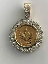 Canada $5 Gold Canadian Maple Leaf. 2 Caret Diamond
