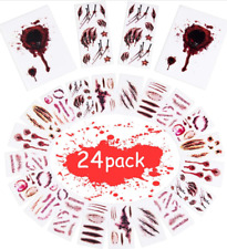 Halloween Temporary Tattoos Stickers with Fake Blood Scars Wound Zombie Makeup