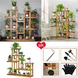 Wooden 6 Tier Plant Stand Flower Rack Shelf Bonsai Holder Home Garden Corner UK