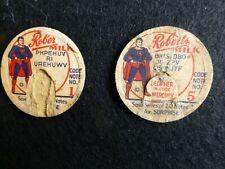 ROBERTS DAIRY MILK BOTTLE CAPS PAPER TOPS SUPERMAN ADVERTISING GAME TWO PIECES