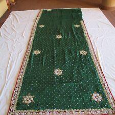 PATIO GREEN Silver EMBROIDERY Exclusive Sari KUNDAN Fabric ELEGANT RARE Saree