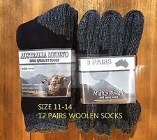 12 PAIRS 11-14 HEAVY DUTY AUSTRALIAN MERINO EXTRA THICK WOOL SOCKS BLACK/GREY