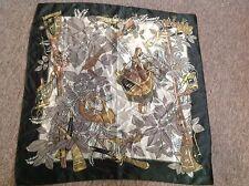 Vintage green faux silk handmade scarf hunting scene saddle bag horns DEADSTOCK