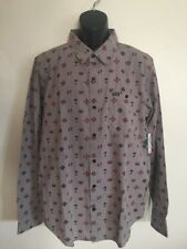LRG Wovens Crystal Peak Gray Button Down Long Sleeve Shirt Men's Size L NWT