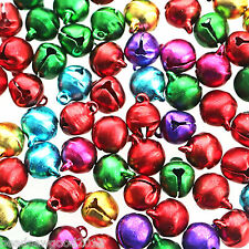 Aluminium JINGLE BELLS Pendant Charms 50 Assorted Colours x 10mm Christmas Craft