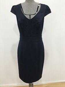 Review navy blue cap sleeve pencil dress lace insert detail polka dot lining 10