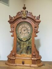 Antique Late 1800s Walnut Mantle Clock
