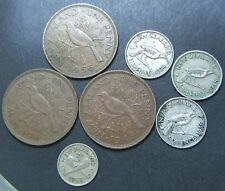 Lot New Zealand coins, 1934, 1936, 48 sixpence, 1940, 1945, 1956 penny, 1953 3d