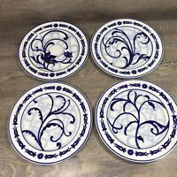 Bombay China WINDSOR Blue White Floral Scroll Rimmed Dinner Plates Set of 4
