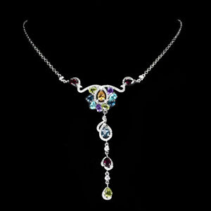 Unheated Pear Citrine Amethyst Topaz Peridot Gems 925 Sterling Silver Necklace