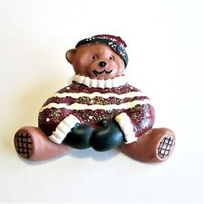 Teddy Bear Holiday Sweater Pin Brooch Christmas Winter Resin Country G19
