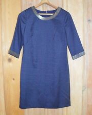 Adrianna Papell NAVY BLUE Career Professional Dress w Beaded Neckline & sleeves