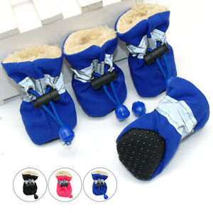 4pcs Waterproof Small Dog Shoes Non-Slip Puppy Breed Boots Soft Booties for Pets