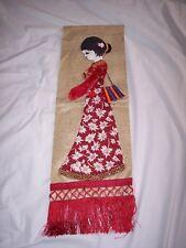 Asian Japanese Style GEISHA Silk & Fabric Wall Hanging