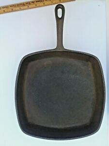 """Vintage BSR Square Skillet Cast Iron Marked Made In USA 10-1/4"""" sits flat"""