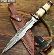 LOUIS MARTIN RARE CUSTOM HANDMADE DAMASCUS ART HUNTING DAGGER KNIFE CAMEL BONE