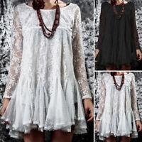 ZANZEA Women Long Sleeve Waterfall Shirt Tops Lace Crochet Loose Blouse Jumper