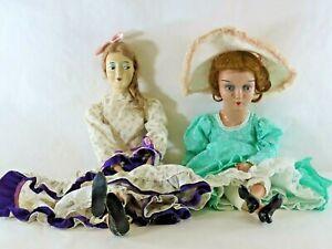 """Pair of Large Antique 28"""" & 26"""" Composition Boudoir Bed Dolls"""