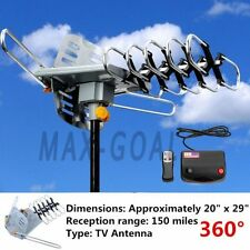 HDTV 1080p Outdoor Amplified Antenna 360 Rotor Digital HD TV UHF VHF FM 150 Mile