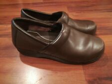 LL Bean Womens Leather Clogs Shoes Slip On Comfort Occupational Nurse Brown Sz 9