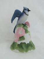 Vintage Bisque Porcelain Blue Jay on Flower Bell 2001 Avon Collectible