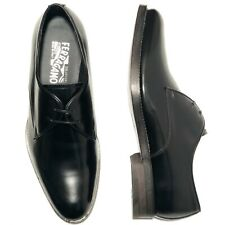 Ferragamo Men's Black Polished Leather Dress Oxford Shoes Tuxedo Wedding Formal