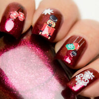 Nail WRAPS Nails Art Water Transfers Decals Christmas Toy Soldier Baubles Y1054