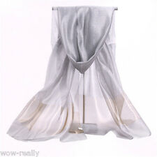 New Style Pure Silk Silver Gray Soft Scarf /Shawl Beautiful Colours Gift 64x27''