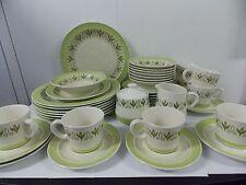 Mayan Ironstone Japan Retro Vintage Green & Lime Green Dinnerware Set ,