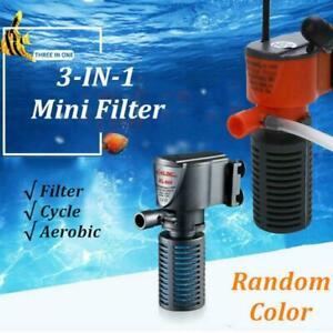 3 in1 Aquarium Filter Submersible Oxygen Internal Fish Tool Tank Air Pump H2Y9