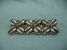 Stunning Vintage Sterling Silver Mexico Three Panel Floral Pin Brooch 9.8 Grams