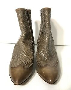 Womens Antonio Maurizi Made In Italy Taupe Leather Bootie Size 41 (11)