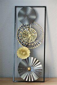 Wanddekoration Wandbild Metall 3D Deko Bild Design Grautöne  61cm