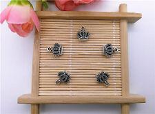 Wholesale 12Pcs Tibet Silver Retro Crown Charm Pendant Beaded Jewelry AQ01