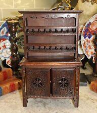 Antique French Breton Brittany Salesman's Sample Plate Dresser Hutch Buffet Fs