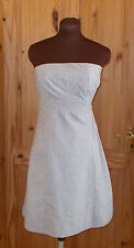 WAREHOUSE charcoal grey ivory off-white striped strapless corset 50's dress 8 36