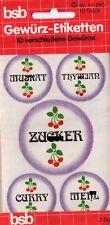 bsb Aufkleber Sticker 1 SET 10 Etiketten im Jugendstil für Gewürze Vorratsdosen