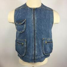 Vintage 80s 90s Grunge Surf Skate Denim Jean Punk Hippy Vest Coat Jacket Womens