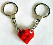 LEGO Bright Red Love Heart Keychain Birthday Valentine Gift Quality Keyring NEW