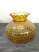 "Amber Hobnail Glass Oil or Electric Lamp Shade Ruffle Top 7"" fitter"