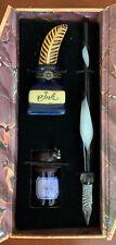 New listing Nib Madame De Pompadour Ink Box Calligraphy Set: Glass Pen / Indigo Ink / Box
