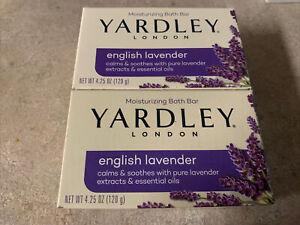 Lot Of 2 Yardley London English Lavender Moisturizing Bath Bar Soaps 4.25 oz