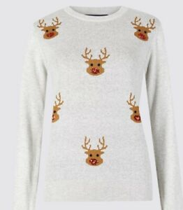 M&S Ladies Christmas Reindeer Sequinned Jumper BNWT Size Large Cotton